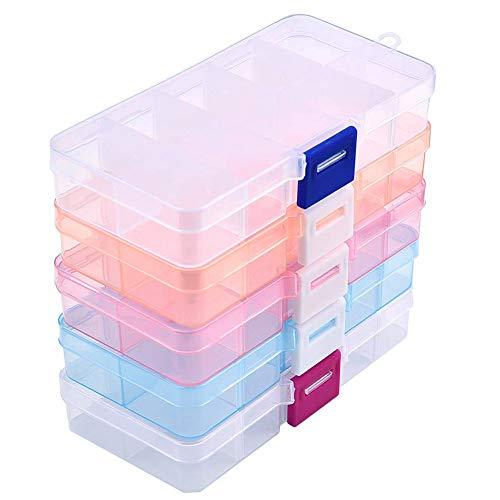 Caja organizadora de joyas, 5 unidades, caja de almacenamiento de plástico, 10 rejillas con divisores ajustables, organizador de cuentas para anillos, aretes, suministros de arte (color mezclado)