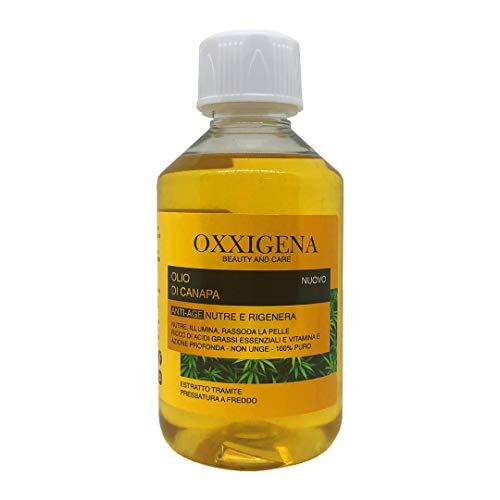 Oxxigena - Olio di Semi di Canapa 100% Puro e Naturale Pressato a Freddo, Confezione da 250 ml, Olio Idratante, Nutriente per Cosmetici, Azione Antirughe, Ideale per la Cura della Pelle e dei Capelli