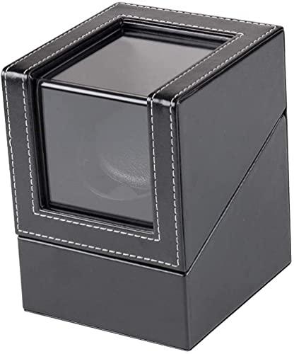 J&X Reloj mecánico Caja de enrollamiento USB Fuente de alimentación USB Coctelera de Motor Negro con Pantalla Transparente Mini relojero Winder Holder