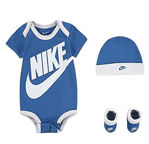 Nike Conjunto de body, gorra, calcetines y zapatos, 0-6 meses, color azul y blanco