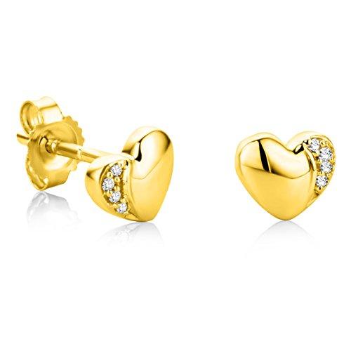 Orovi Orecchini Donna Cuore Piccoli a Lobo in Oro Giallo con Diamanti Taglio Brillante Oro 18 kt /750