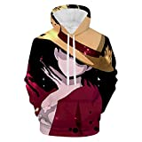 AEKDITU Mens Anime On-e-Pie-ce Lu-ffy Hoodies 3D Printed Pullover Cool Long Sleeve Casual Sweatshirts XXL