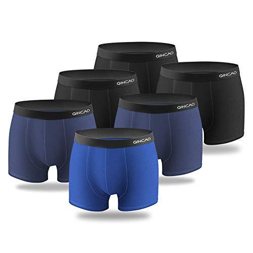 QINCAO Boxershorts Herren 6er Pack Männer Unterwäsche Unterhosen MenRetroshorts Boxer Baumwolle (Schwarz, Dunkelblau, Meeresblau, M)