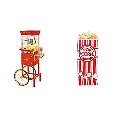 Nostalgia Concession CCP510 Vintage Professional Popcorn Cart-New 8-Ounce Kettle-53 Inches Tall-Red & Carnival King Paper Popcorn Bags, 1 oz, Red & White, 100 Pieces