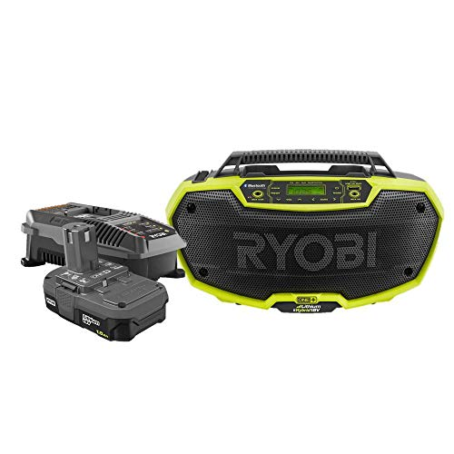 RYOBI 18v Radio AM/FM Hybrid Stereo with Bluetooth Technology with 1.5 Ah Battery and Charger