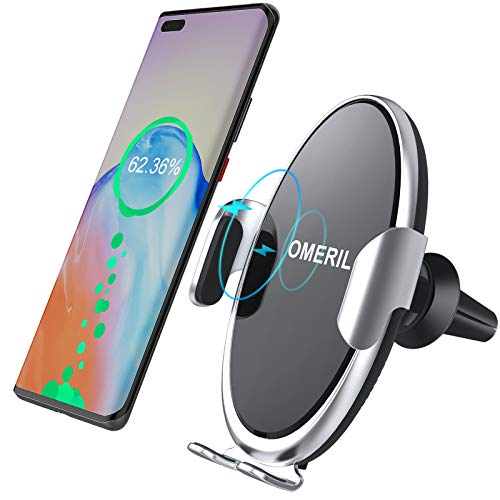OMERIL Caricatore Auto Wireless da 10W, Auto Sensore Ricarica Wireless da Auto Rapida, Regolabile a 360°, Supporto Wireless per Auto per iPhone 11 SE/Pro/X/Max,Samsung Galaxy S20/Note 10+/S10/Note 8