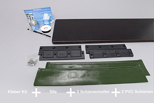 Set: schiebbarer Sitz (105x20cm) + 2x Schienenhalter + 2x Schienen + Kleber Kit