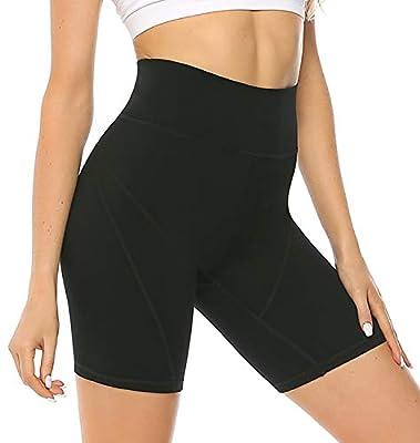 JOYSPELS Gym Shorts for Women High Waist Tummy Control 4 Way Stretch Running Shorts Side Pockets Black L
