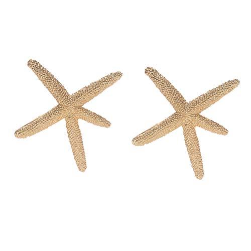 Lurrose 2PCS 3D Sea Star señaló horquillas boda tocado para novia (dorado)
