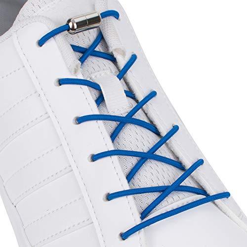 SULPO Elastische Schnürsenkel mit Metallverschluss – Ohne Binden – Silikonschnürsenkel S009 (Blau)