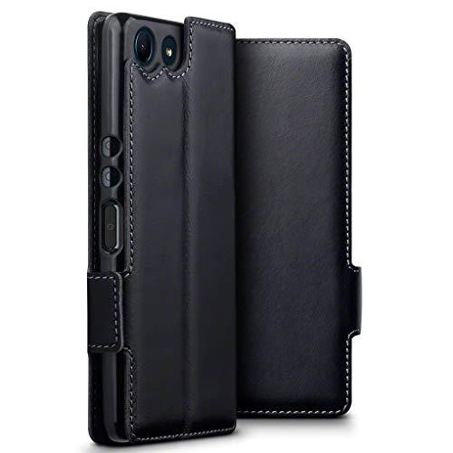 TERRAPIN, Kompatibel mit Sony Xperia Ace Hülle, ECHT Spaltleder Börsen Tasche - Slim Fit - Betrachtungsstand - Kartenschlitze - Schwarz