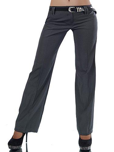 Diva-Jeans L293 Damen Business Stoffhose Elegante Bootcut Hose Classic Schlaghose + Gürtel, Farben:Steingrau, Größen:34 XS (Etikett T1)