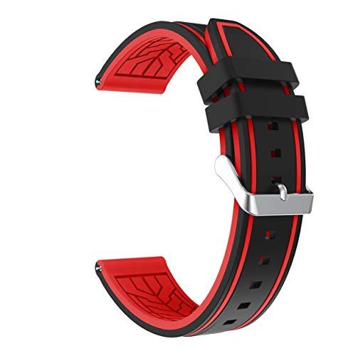 Fmway Repuesto de Correa Reloj 22mm de Silicona para Samsung Galaxy Watch 46mm / Gear S3 Frontier/Gear S3 Classic/Moto 360 2. Generation 46mm, Hombre y Mujer (Negro + Rojo)