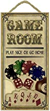 SJT ENTERPRISES, INC. Game Room Sign - Play Nice or go Home - Vintage w/Poker Cards, Chips, dice and 8 Pool Balls (Vertical) 5 x 10 MDF Wood Plaque, Sign Great for The rec or Play Room (SJT 13828)