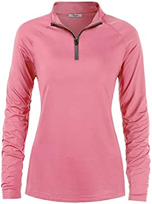 Cestyle Workout Tops for Women, Long Sleeve SPF 50+ Ladies Hiking Wear Excellent Sun Protection Lightweight Pullover Athletic Cooling Sport Shirts Outdoor Clothes Pink Large