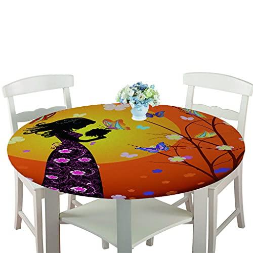 Rondes Imperméable Nappe avec Bord élastique, Treer 3D Anti-Taches Lavable Entretien Facile Nappes avec Papillon Imprimé Nappe de Table pour Cuisine Picnic Party Jardin Table (Orange,120cm)
