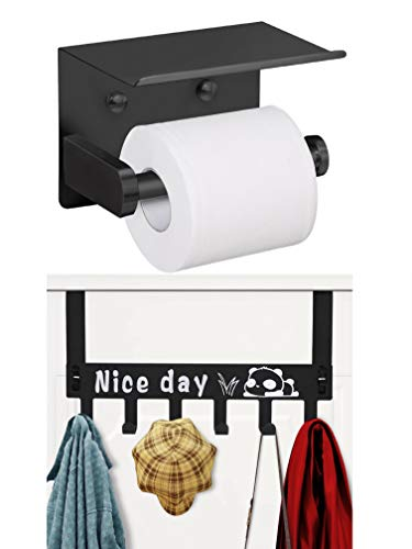 VAEHOLD Toilet Paper Holder with Shelf and Over The Door Hook
