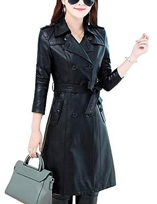 Tanming Womens Fashion Lapel Double Breasted Lambskin Leather Mid Long Jacket Coat (Black, Medium)