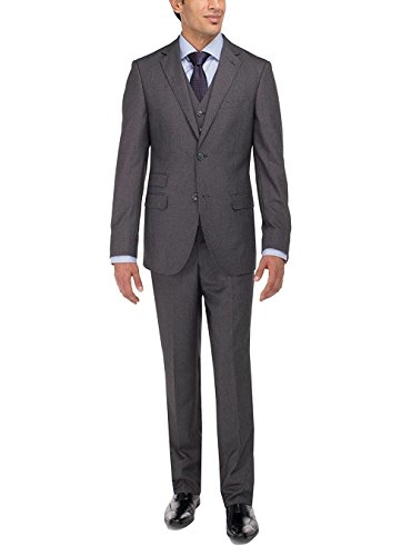 Luciano Natazzi Men's Two Button Vested Three Piece Suit Set Tweed Modern Fit (38 Short US / 48S EU/W 32', Charcoal)