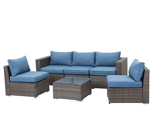 Wisteria Lane 6 Piece Outdoor Furniture Set, Patio Sectional Sofa for Garden Backyard, Modular Wicker Couch with Glass Table - Upgrade Blue Cushion