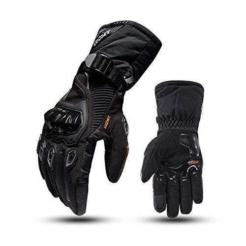 Various Guanti da moto invernali impermeabili e freddi con touch screen a dito pieno.Nero.L