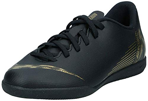 Nike Unisex-Kinder Vaporx 12 Club Gs IC Fußballschuhe, Schwarz (Black/MTLC Vivid Gold 077), 35 EU