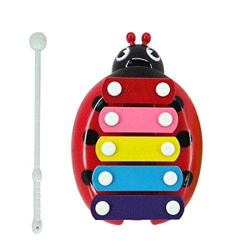 Tongshi Bebé cabrito del niño 5 Nota xilófono Juguetes Musicales Sabiduría Desarrollo Escarabajo (Rojo)