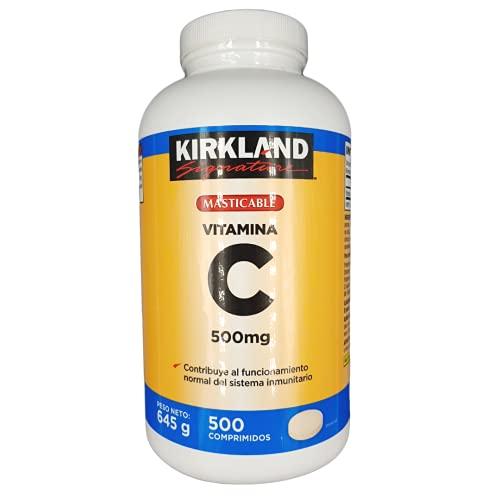 Vitamina C Masticable   Reduce el Cansancio y la Fatiga - Fortalece el Sistema Inmunológico - Propiedades Antioxidantes   500 Comprimidos - Suministro para más de 8 meses.