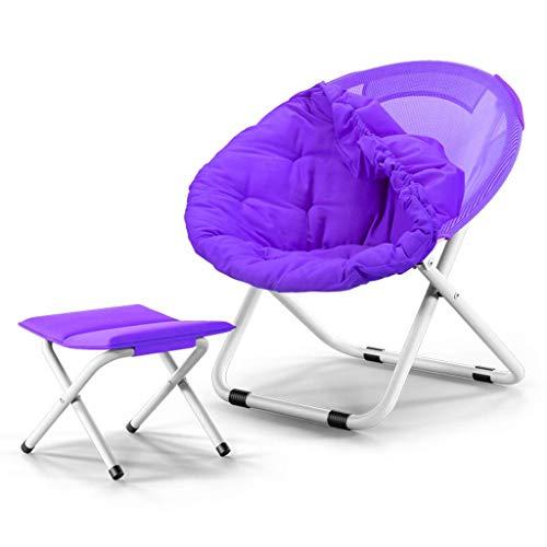 Mueble de jardín/Sofá Silla Moon Silla Sun Silla Lazy Chair Radar Silla Reclinable Volver Tela Suave Amplia y Robusta Diseño, Reposapiés (Color: Azul) (Color : Purple)