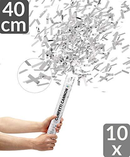 10 Konfetti Shooter Silber 40cm | Mit Extra lautem Knall | Konfettikanone mit Hoher Schussweite