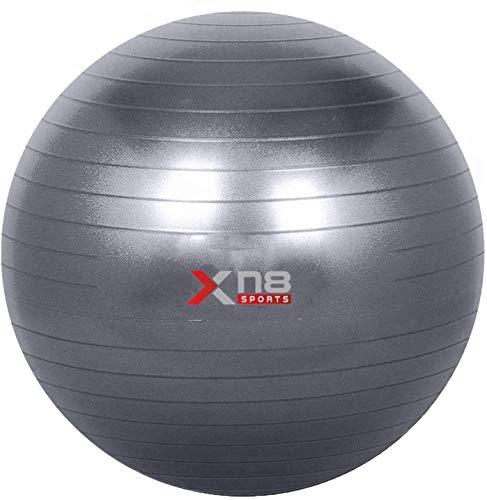 Xn8 Gymnastikball, 55 cm - 85 cm, robust, Anti-Burst, Stabilitätsball für Fitness, Fitnessstudio, Yoga, Pilates, Geburt, Schwangerschaft, Physiotherapie mit Schnellpumpe, Grau, 85 cm