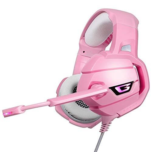 WANGCHENGLONG K5 PS4 Gaming Headset Surround Sound PC Bass Auriculares con el Mic luz LED for Xbox One/teléfono/Tableta del Ordenador portátil Gamer-Rosa Auriculares para Gamer