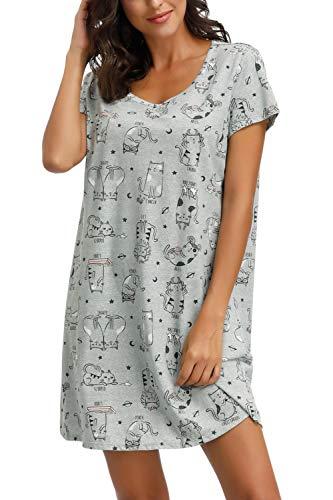 Zexxxy Chemise de Nuit pour Femme Chemise de Nuit en Coton Au-Dessus du Genou Jersy Knit Pyjama avec...
