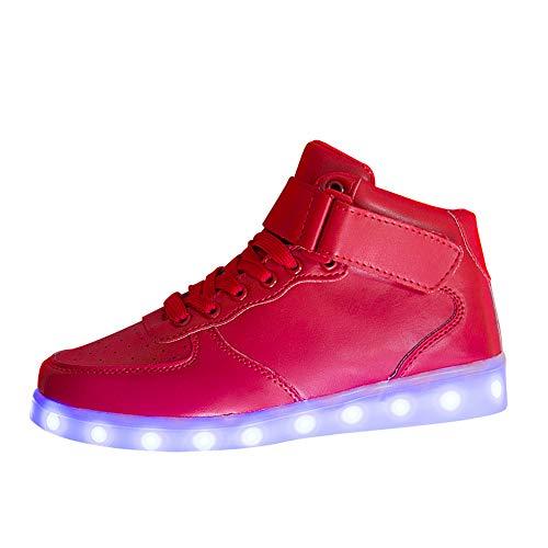 SUCES Unisex Sneaker, Damen Mode LED Leucht Schuhe Frauen Licht Sole High Top Laufschuhe Paar USB Sport Wanderschuhe Beiläufige Outdoor Fläche Atmungsaktiv Sportschuhe (rot,40)