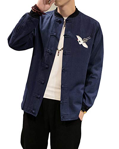 Chinesische Kleidung Tang-Stil Jacke Traditionelle Kung Fu Tai Chi Lange Ärmel Jacke Uniform Für Männer Von Maßschneider Marine 3XL