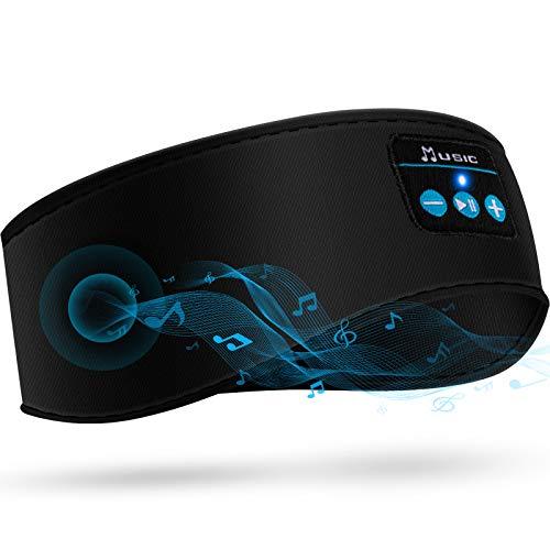 Auriculares de Dormir con Diadema Bluetooth, HiFi Bluetooth Inalámbrico 5,0 Auriculares Diademas Deportivos de Música con Auriculares Delgados Integrados (Negro)