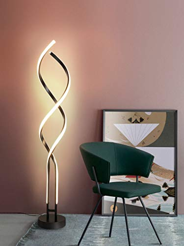 Modern Led Floor Lamp Curved Shape CASA LIGHT Dimmable with Remote Control 3-Colors Light 3000k-4500k-6000k Foot Switch and Sleep Mode