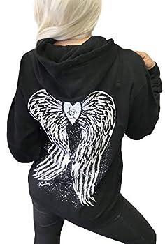 Demi Loon Sexy Angel Wings Tattoo Hoodie Graphic Sexy Women s Pullover Hooded Sweatshirt  Large Black Angel Hoodie