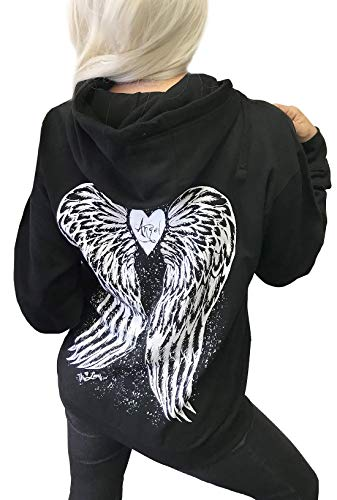 Demi Loon Sexy Angel Wings Tattoo Hoodie Graphic Sexy Women's Pullover Hooded Sweatshirt (Large, Black Angel Hoodie)