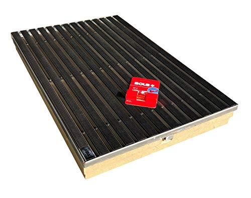 Bodenwanne mit Stahlzarge 75 x 50 mit Schuhabstreifer Gummiprofil und Schnurwasserwaage
