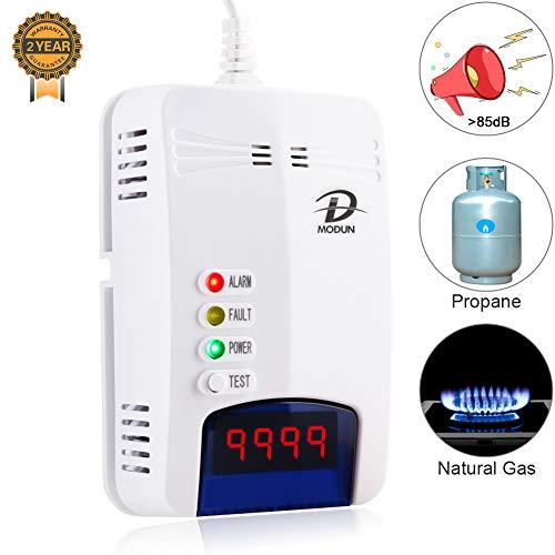 Gasmelder, LPG | Erdgas | Kohlengas Lecksucher, Plug-in Sensor Gasmonitor mit akustischem Alarm und LED Anzeige, Methan Propan Butan Alarm für brennbare Gase in der Küche eines Garagenhotels (Weiß)