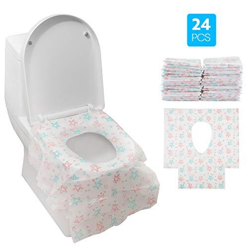Gimars Copriwater Monouso 24pcs ExtraGrande Coprisedili Impermeabili Usa e Getta da Vasini WC Antibatterici Portatili da Viaggi Campeggio Hotel Ospedale Ristorante Bagni Pubbulici Adulti Bambini