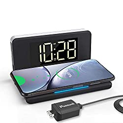 Pointuch Digital Alarm Clock with Wireless Charger,Qi Certified 10W Fast Wireless Charger White Night Light Dimmable LED Display USB Charging for iPhone Samsung(Black)