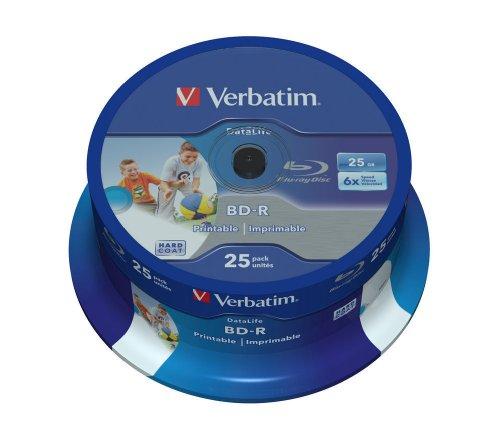 VERBATIM BD-R SL Datalife Blu-ray Rohlinge 25 GB I Blu-ray-Disc mit 6-facher Schreibgeschwindigkeit I 25er-Pack Spindel I großflächig bedruckbar I Blu-ray-Disks für Video- und Audiodateien