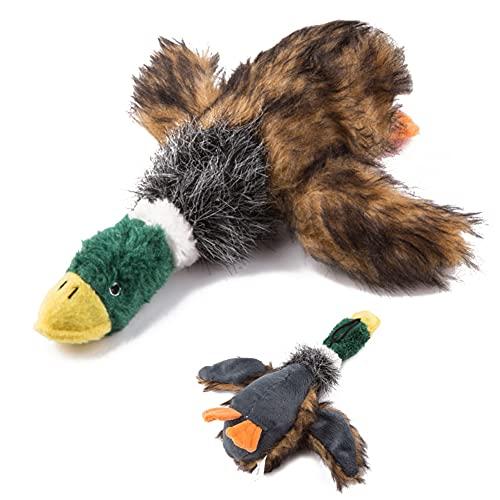 Juguete para Perros, Peluche de Pato chirriante, Juguete Interactivo masticable para el Cuidado Dental con Sonido (Forma de Pato Real)