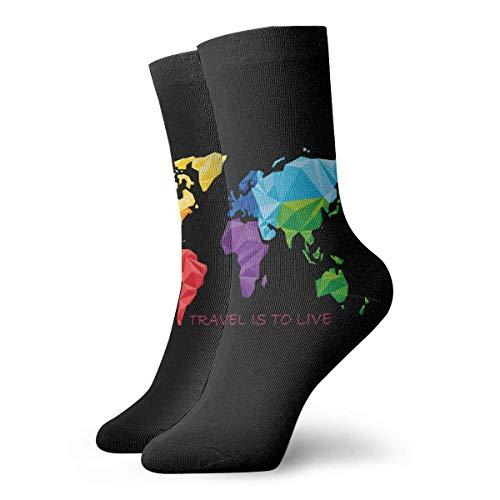 Ocasionales Calcetines,Calcetines Deportivos,Alto Rendimiento Sports Socks,Viajar Es Vivir Mapa Del Mundo Geografía Control De Humedad Calcetines Para Correr Calcetines De Entrenamiento Transpirable