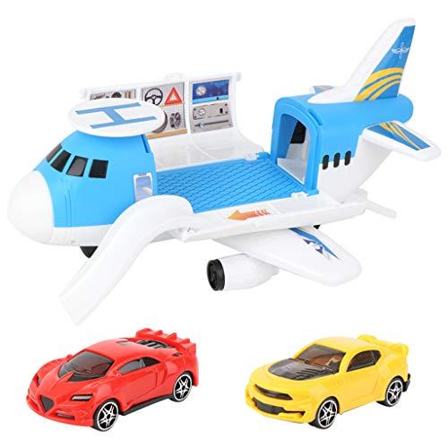 Bascar Avión de juguete, furgoneta, modelo de avión, autoensamblado, capacidad de almacenamiento para pasajeros, avión, tamaño grande con dos coches para niños