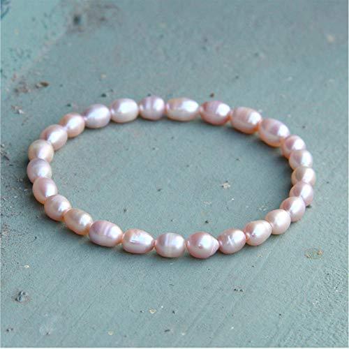 LAYYYQX Rose Golden Süßwasser Kartoffel Perlen Armreifen Perlen einfach für Männer Frauen 7-8mm Natur Barock Pink Pearl Elastic Bracelet Geschenk