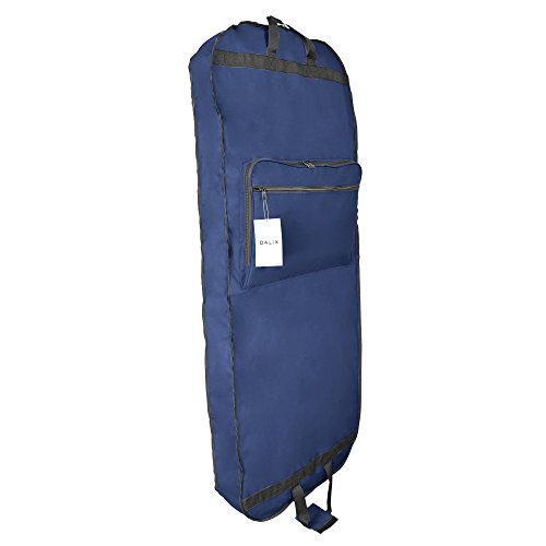 DALIX 60' Professional Garment Bag Cover Suits Dresses Gowns Foldable Shoe Pocket in Navy Blue