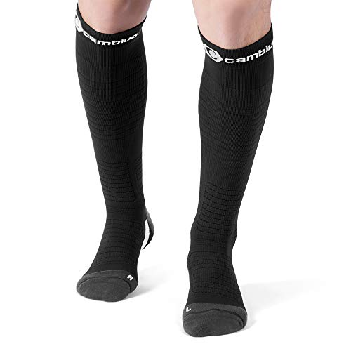 CAMBIVO 2 Pairs Compression Socks for Women and Men, Compression Stocking for Swelling, Flight Travel, Nurses, Running, Pregnancy (Cool Black-Gray, L, 15-20 mmHg)